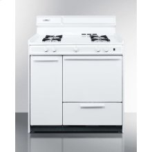 "36"" Wide White Gas Range With Battery Start Ignition"
