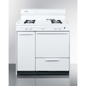 "Summit36"" Wide White Gas Range With Battery Start Ignition"