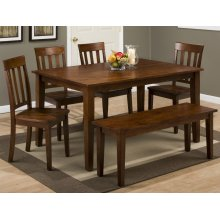 Simplicity Caramel Rectangle Dining Table With Six Slat Back Dining Chairs