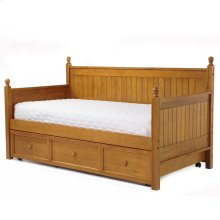 Casey II Wood Daybed with Ball Finials and Roll Out Trundle Drawer, Honey Maple Finish, Twin