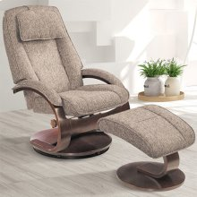 Bergen Recliner and Ottoman in Teatro Graphite Fabric