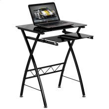 Black Tempered Glass Computer Desk with Pull-Out Keyboard Tray