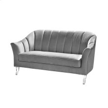 Channel Back Sofa In Grey Velvet