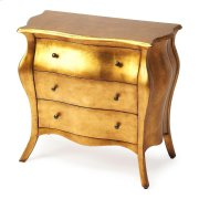 With nary a straight line to be found, this stunning bombe chest is a beautiful addition in any space. Featuring a gold leaf finish, this Parisian-inspired design is expertly crafted from poplar hardwood solids and wood products. It boasts three spacious Product Image
