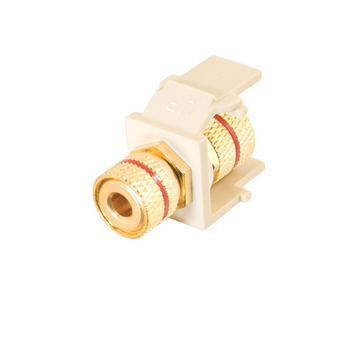 Snap-In Red Banana Jack F/F Keystone Insert Module - Ivory