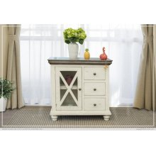 3 Drawer, 1 Door, Ivory Finish Server