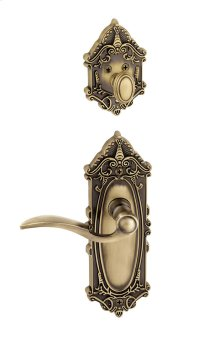Grandeur - Single Cylinder Combo Pack Keyed Differently - Grande Victorian Plate with Bellagio Lever and Matching Deadbolt in Vintage Brass