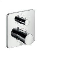 Polished Brass Thermostat for concealed installation with shut-off/ diverter valve