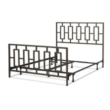 Miami Complete Metal Bed and Steel Support Frame with Geometric Designed Grills and Squared Tubing, Coffee Finish, Queen