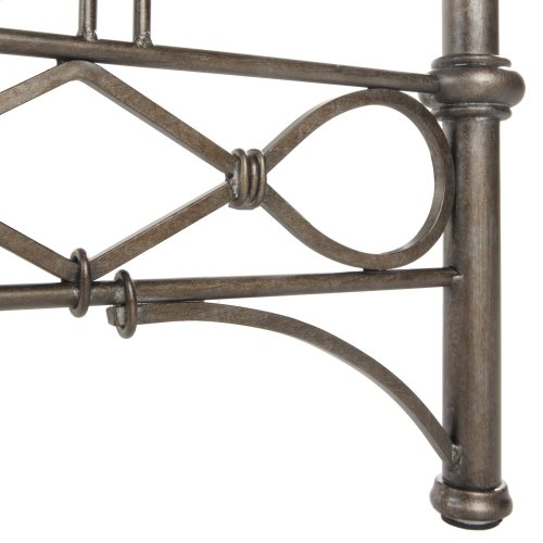 Argyle Metal Headboard and Footboard Bed Panels with Diamond Pattern Top Rail and Double Spindle Castings, Copper Chrome Finish, Full