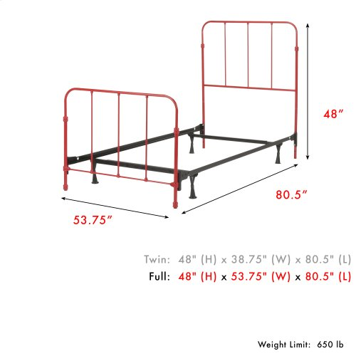 Nolan Fashion Kids Complete Metal Bed and Steel Support Frame with Fun Versatile Design, Candy Red Finish, Full