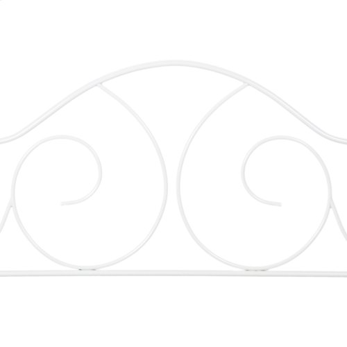 Caroline Metal Daybed Frame with Sloping Back Panel and Curved Line Design, Antique White Finish, Twin