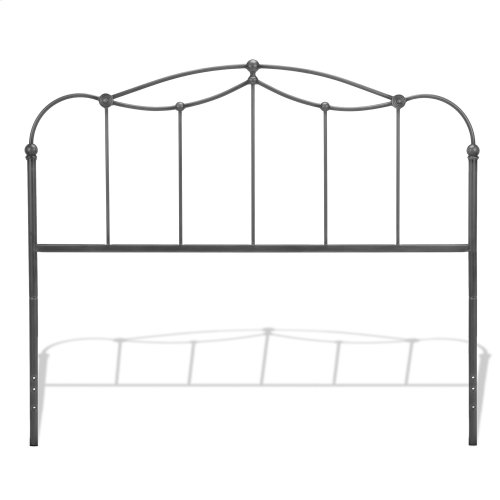 Braylen Metal Headboard Panel with Straight Spindles and Detailed Castings, Weathered Nickel Finish, King
