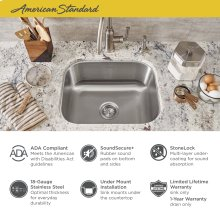 """Portsmouth 18x16"""" ADA Single Bowl Stainless Steel Kitchen Sink  American Standard - Stainless Steel"""