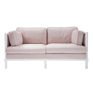 Worlds AwayBamboo Edge White Lacquer Sofa In Blush Velvet