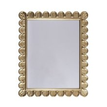 Mirror With Scalloped Edge Frame In Gold Leaf.