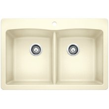 Blanco Diamond Equal Double Bowl With Ledge - Biscuit