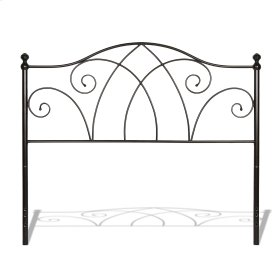 Deland Metal Headboard with Curved Grill Design and Finial Posts, Brown Sparkle Finish, King