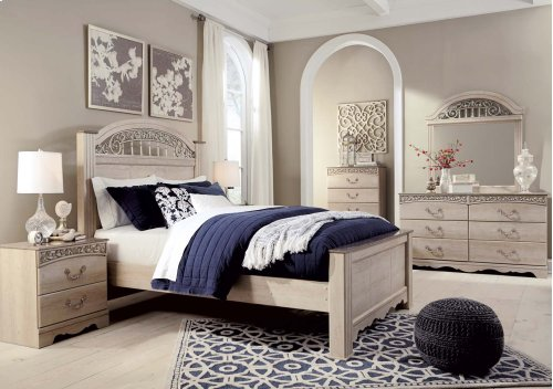 Ashley - Catalina - Antique White 4 Piece Bedroom Set - Dresser, Mirror, Headboard, Footboard & Rails