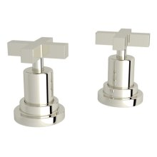 """Polished Nickel Lombardia Set Of Hot & Cold 1/2"""" Sidevalves with Cross Handle"""
