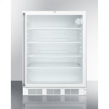 ADA Compliant, Commercially Listed Freestanding Glass Door All-refrigerator With White Cabinet, Lock, and Full-length Towel Bar Handle