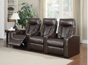 Camden Brown Bonded Leather 3-Piece Reclining Theater Set Product Image