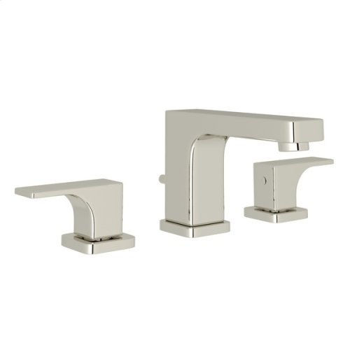 Polished Nickel Quartile High Neck Widespread Lavatory Faucet with Metal Lever