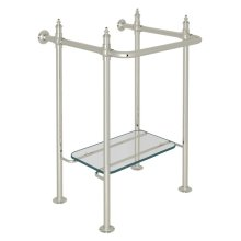 Polished Nickel Finished Brass Wash Stand With Glass Shelf