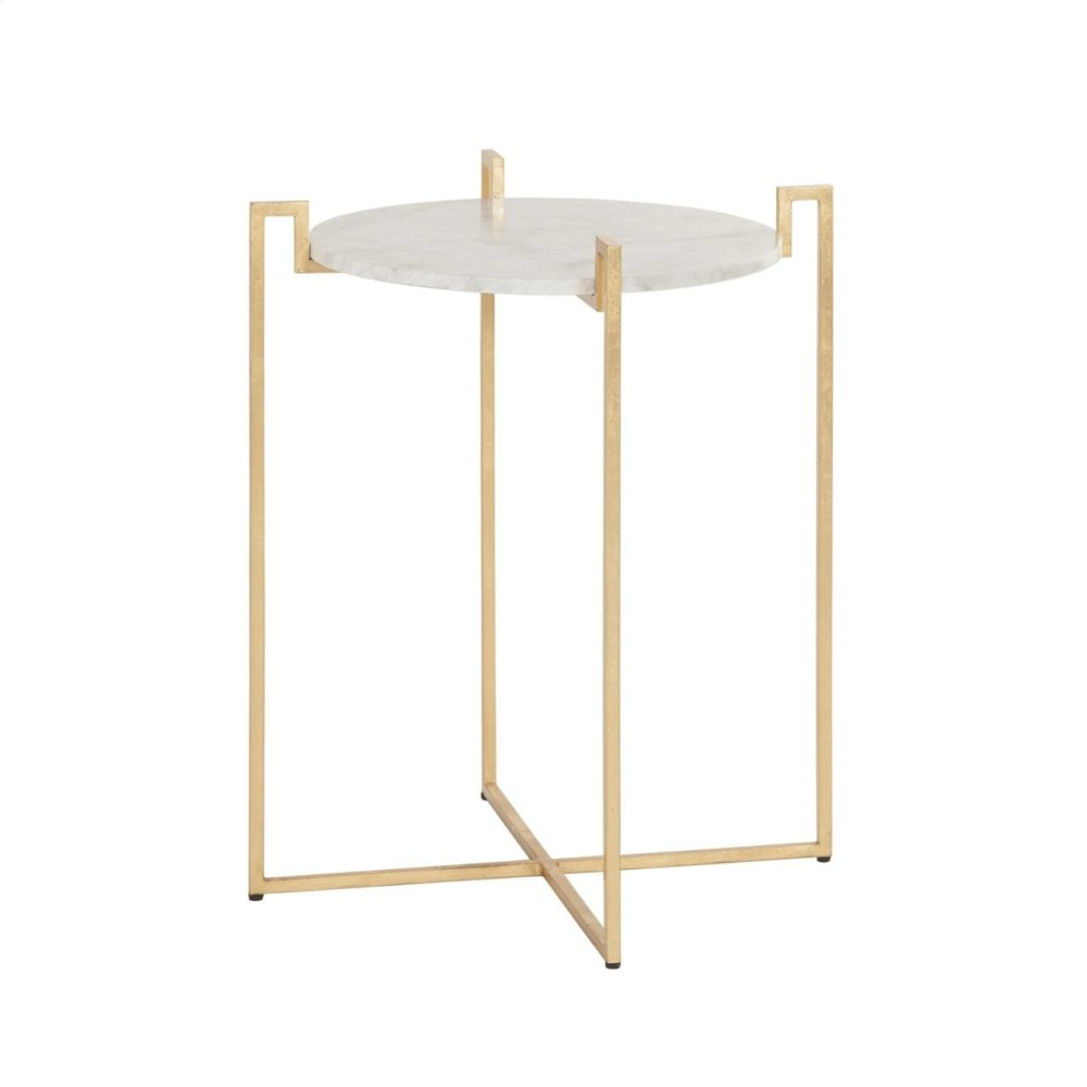 Gold Leaf Side Table With Greek Key Detail & White Marble Top