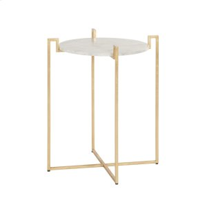Worlds AwayGold Leaf Side Table With Greek Key Detail & White Marble Top