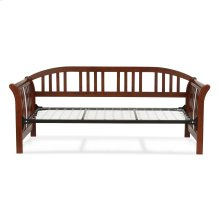Salem Complete Wood Daybed with Link Spring Support Frame and Sleigh-Style Arms, Mahogany Finish, Twin