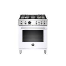 30 inch Dual Fuel Range, 4 Brass Burner, Electric Self-Clean Oven Bianco