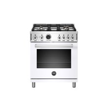 30 inch Dual Fuel Range, 4 Brass Burner, Electric Self-Clean Oven Bianco