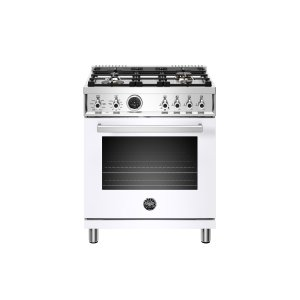 BERTAZZONI30 inch Dual Fuel Range, 4 Brass Burner, Electric Self-Clean Oven Bianco