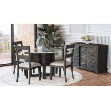 Altamonte Round Dining Table With 4 Chairs - Brushed Grey
