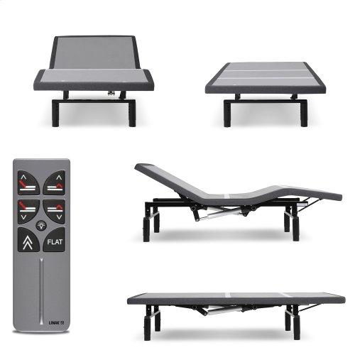 Falcon 2.0+ Low-Profile Adjustable Bed Base with Under-Bed Lighting, Charcoal Gray, Twin XL