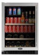 "Stainless Frame Glass Door, Left Hinge 24"" Beverage Center Product Image"