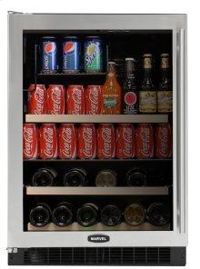 "Stainless Frame Glass Door, Left Hinge 24"" Beverage Center"
