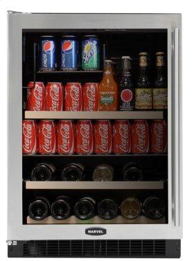 """Stainless Frame Glass Door, Left Hinge 24"""" Beverage Center"""