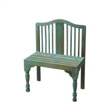 Reminiscent of a gardener's bench, this beautifully proportioned bench features a slatted back and seat with meticulously turned front legs. Crafted from solid wood it is hand-painted in a whimsical antique finish.