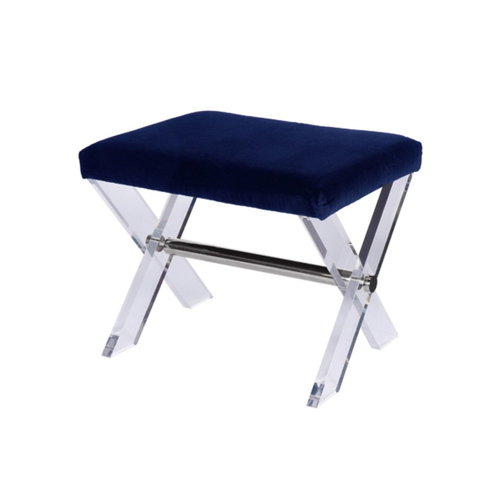 Lucite X Base Stool With Nickel Stretcher & Navy Velvet Upholstered Cushion.