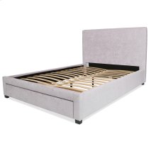Inverness Complete Upholstered Storage Bed and Bedding Support System with 64-Inch Wide Footboard Drawer, Alabaster Finish, Queen