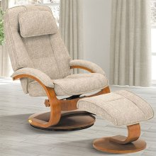 Bergen Recliner and Ottoman in Teatro Linen Fabric