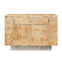 Burl Wood Bar Cabinet With Silver Leaf Accents.