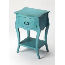 Crafted from Mango wood solids in a Rustic Blue finish; this night stand is perfect for stowing bedside essentials and flanking your master bed as a pair, this lovely nightstand showcases a single drawer, scalloped apron and lower display shelf.