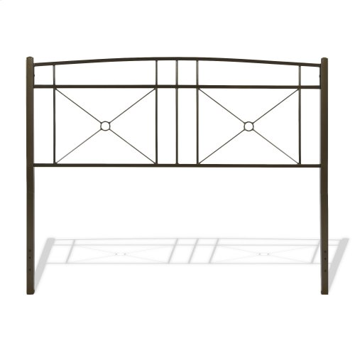 Russett Metal Headboard and Footboard Bed Panels with Modest Sloping Top Rails, Liquid Bronze Finish, Full