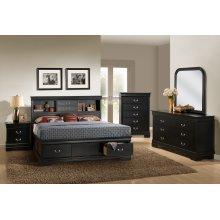 Louis Philippe Black Queen Storage Bed