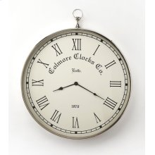 This wall clock is crafted in a round shape that features Roman numerals over a white face, and a sturdy handle. The clock can be placed on any wall and blends with a variety of decor. Makes a great gift.