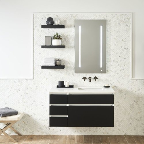 "Cartesian 24-1/8"" X 15"" X 18-3/4"" Single Drawer Vanity In Satin White With Slow-close Plumbing Drawer and Night Light In 5000k Temperature (cool Light)"