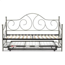 Caroline Complete Metal Daybed with Euro Top Deck and Trundle Bed Pop-Up Frame, Flint Finish, Twin